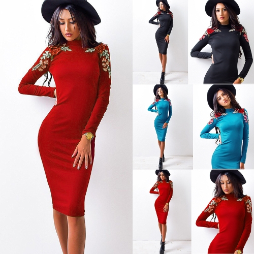 Fashion Women Embroidery Flower Floral Sexy Midi Dress Long Sleeve Solid Party Club Bodycon DressApparel &amp; Jewelry<br>Fashion Women Embroidery Flower Floral Sexy Midi Dress Long Sleeve Solid Party Club Bodycon Dress<br>