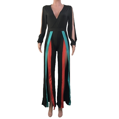 Sexy Women Jumpsuit Stretchy Deep V Neck Colorful Stripes Split Cut Out Long Sleeve Bodycon ClubwearApparel &amp; Jewelry<br>Sexy Women Jumpsuit Stretchy Deep V Neck Colorful Stripes Split Cut Out Long Sleeve Bodycon Clubwear<br>
