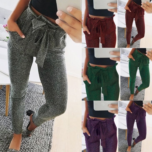 Fashion Women Long Pants Metallic Sequined Elastic Waist Bandage Casual Slim TrousersApparel &amp; Jewelry<br>Fashion Women Long Pants Metallic Sequined Elastic Waist Bandage Casual Slim Trousers<br>