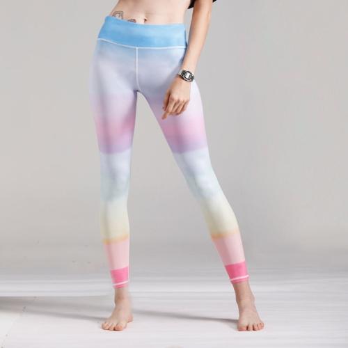 Women Gym Leggings Colorful Gradient Rainbow Print High Waist Casual Skinny Sport Yoga Pants BlueApparel &amp; Jewelry<br>Women Gym Leggings Colorful Gradient Rainbow Print High Waist Casual Skinny Sport Yoga Pants Blue<br>