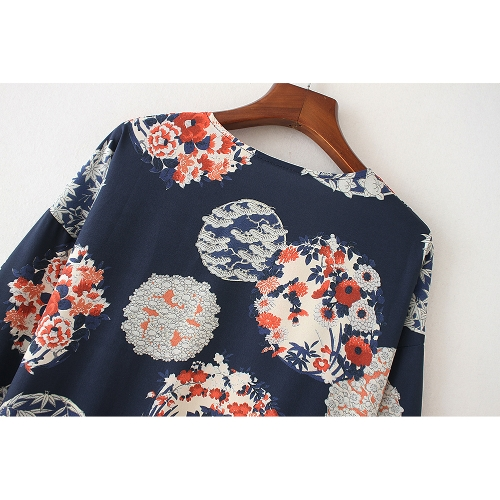 Women Chiffon Kimono Cardigan Vintage Floral Cover Up Split Boho Long Loose Beach Robe Blouse Top Dark BlueApparel &amp; Jewelry<br>Women Chiffon Kimono Cardigan Vintage Floral Cover Up Split Boho Long Loose Beach Robe Blouse Top Dark Blue<br>