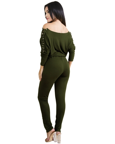 Sexy Women Solid Off Shoulder Jumpsuit Lace Up Eyelet Holes Long Sleeves Bandage Bodycon Clubwear Romper PlaysuitApparel &amp; Jewelry<br>Sexy Women Solid Off Shoulder Jumpsuit Lace Up Eyelet Holes Long Sleeves Bandage Bodycon Clubwear Romper Playsuit<br>