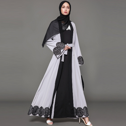 Women Muslim Cardigan Spliced Crochet Lace Hem Long Sleeve Islamic Abaya Maxi Dress OutwearApparel &amp; Jewelry<br>Women Muslim Cardigan Spliced Crochet Lace Hem Long Sleeve Islamic Abaya Maxi Dress Outwear<br>