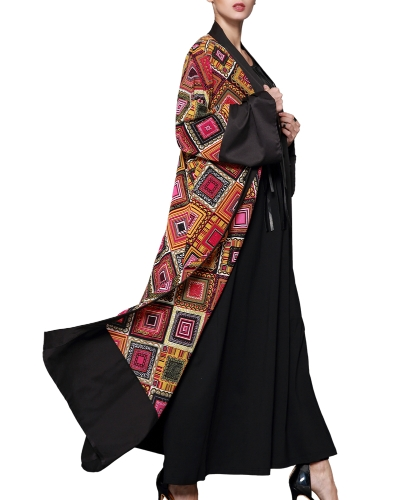 Women Muslim Robe Cardigan Print Bell Long Sleeves Front Open Belted Long Loose Abaya Dress Plus SizeApparel &amp; Jewelry<br>Women Muslim Robe Cardigan Print Bell Long Sleeves Front Open Belted Long Loose Abaya Dress Plus Size<br>