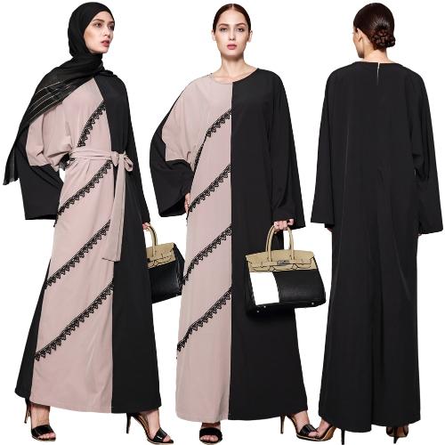 Women Muslim Lace Dress Long Sleeve Splicing Crocheted Lace Zipper Back Long Loose Minddle East Abaya RobeApparel &amp; Jewelry<br>Women Muslim Lace Dress Long Sleeve Splicing Crocheted Lace Zipper Back Long Loose Minddle East Abaya Robe<br>