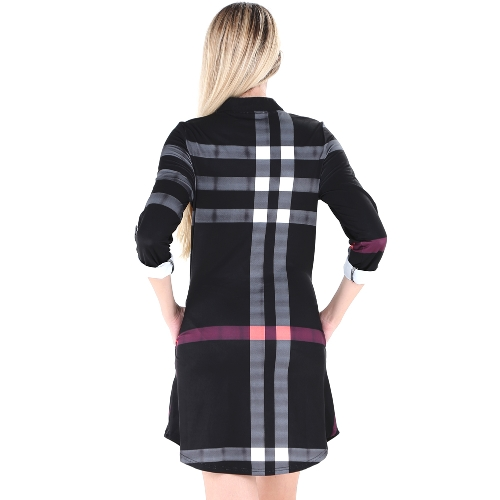 Fashion Women Plaid Shirt Dress Roll Up Sleeves Button V-Neck Pockets Curved Hem Casual Mini Dress Shift DressApparel &amp; Jewelry<br>Fashion Women Plaid Shirt Dress Roll Up Sleeves Button V-Neck Pockets Curved Hem Casual Mini Dress Shift Dress<br>