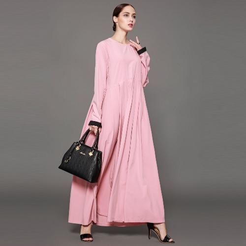 Women Muslim Maxi Long Dress Ruffles O-Neck Long Sleeve Islamic Abaya Female Elegant DressesApparel &amp; Jewelry<br>Women Muslim Maxi Long Dress Ruffles O-Neck Long Sleeve Islamic Abaya Female Elegant Dresses<br>