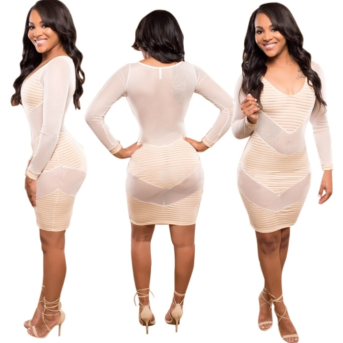 Sexy Party Night Club Dress V Neck Semi-sheer Mesh Stripe Long Sleeve Bodycon Mini Dress Clubwear KhakiApparel &amp; Jewelry<br>Sexy Party Night Club Dress V Neck Semi-sheer Mesh Stripe Long Sleeve Bodycon Mini Dress Clubwear Khaki<br>