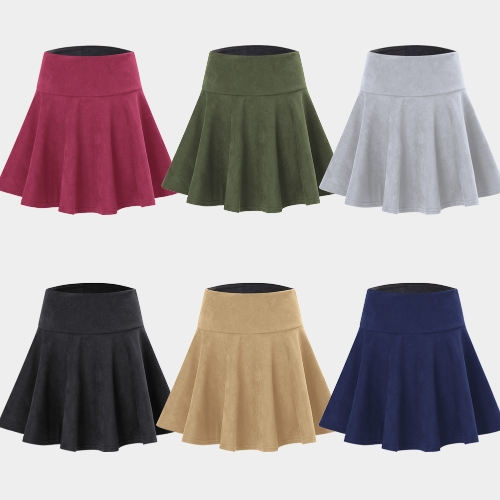 Fashion Women Faux Suede Skirt Solid Color High Waist Pleated Skater A-Line Short Mini SkirtApparel &amp; Jewelry<br>Fashion Women Faux Suede Skirt Solid Color High Waist Pleated Skater A-Line Short Mini Skirt<br>