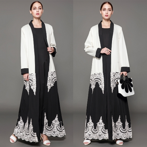 Women Muslim Robes Floral Lace Long Sleeve Abaya Kaftan Islamic Arab Long Cardigan Large Size Belted Dress WhiteApparel &amp; Jewelry<br>Women Muslim Robes Floral Lace Long Sleeve Abaya Kaftan Islamic Arab Long Cardigan Large Size Belted Dress White<br>