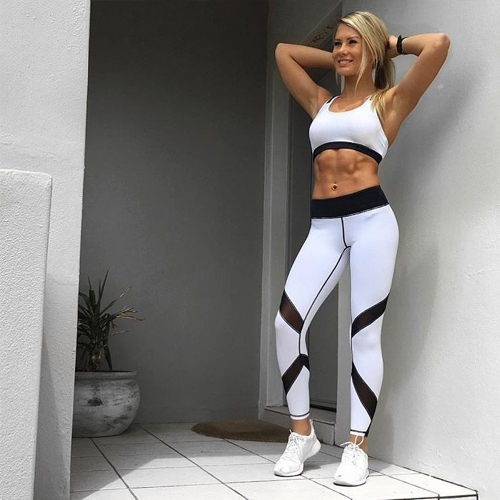 Women Yoga Leggings Sports Pants Mesh Insert Fitness Trousers Running Tights Workout Skinny Leggings Black/White/GreyApparel &amp; Jewelry<br>Women Yoga Leggings Sports Pants Mesh Insert Fitness Trousers Running Tights Workout Skinny Leggings Black/White/Grey<br>