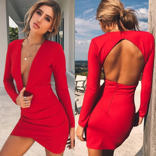 Sexy Women Backless Deep V-Neck Bandage Dress Long Sleeve Crisscross Hem Party Club Bodycon Mini Dress RedApparel &amp; Jewelry<br>Sexy Women Backless Deep V-Neck Bandage Dress Long Sleeve Crisscross Hem Party Club Bodycon Mini Dress Red<br>