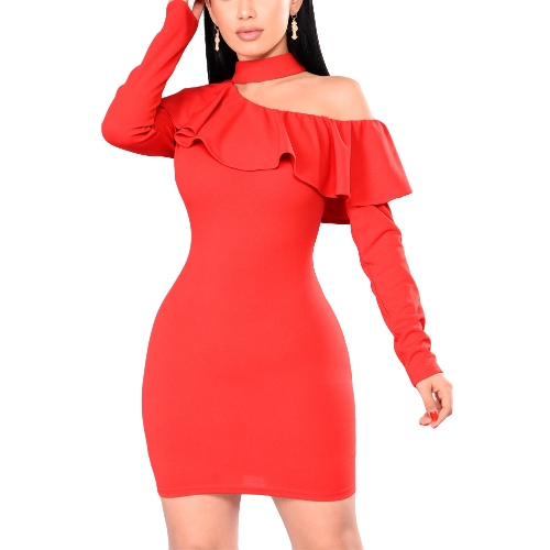 Sexy Women Bodycon Mini Dress Choker Neck Long Sleeves One Shoulder Ruffle Overlay Party Bandage Dress Red
