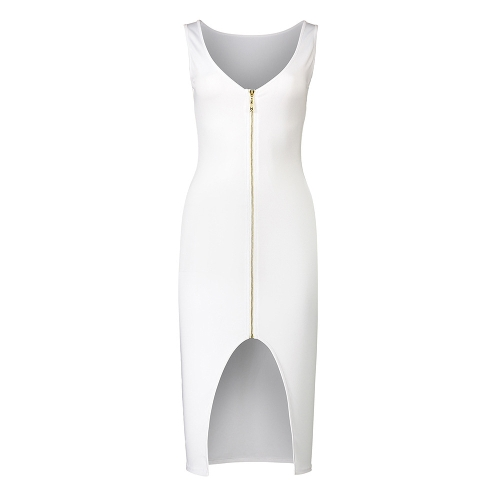 Sexy Women Bodycon Dress Scoop Neck Sleeveless Zip Front Split Nightclub Party Pencil Tight DressApparel &amp; Jewelry<br>Sexy Women Bodycon Dress Scoop Neck Sleeveless Zip Front Split Nightclub Party Pencil Tight Dress<br>