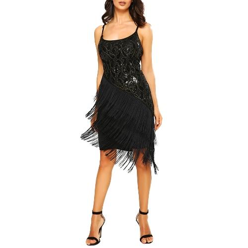 Fashion Women Sequin Fringe Party Dress 1920s Gatsby Flapper Dress Sleeveless Tassel Hem Retro Dress Gold/BlackApparel &amp; Jewelry<br>Fashion Women Sequin Fringe Party Dress 1920s Gatsby Flapper Dress Sleeveless Tassel Hem Retro Dress Gold/Black<br>