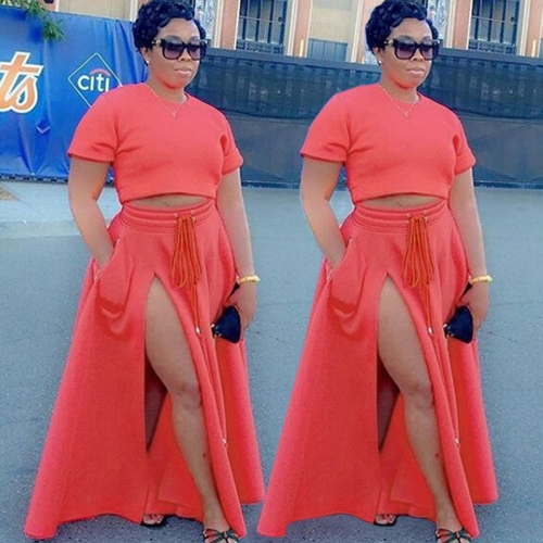 Fashion Women Long Skirt High Cut Slit Drawstring Elastic Waistband Side Pocket A-line SkirtsApparel &amp; Jewelry<br>Fashion Women Long Skirt High Cut Slit Drawstring Elastic Waistband Side Pocket A-line Skirts<br>