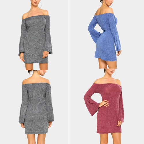 New Elegant Women Mini Bodycon Dress Slash Neck Long Flare Sleeve Solid Color Party Dress Burgundy/Blue/GreyApparel &amp; Jewelry<br>New Elegant Women Mini Bodycon Dress Slash Neck Long Flare Sleeve Solid Color Party Dress Burgundy/Blue/Grey<br>