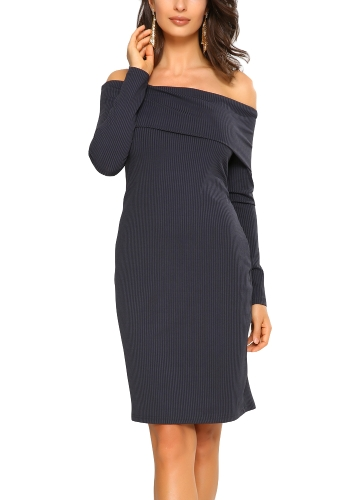 New Elegant Women Bodycon Mini Dress Overlay Slash Neck Long Sleeve Solid Color Party Dress Burgundy/Royal Blue
