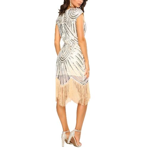Vintage Women Sequins Dress Tassels Fringed Sparkling Beaded Flapper 1920s Club Party Dress Beige/BlueApparel &amp; Jewelry<br>Vintage Women Sequins Dress Tassels Fringed Sparkling Beaded Flapper 1920s Club Party Dress Beige/Blue<br>