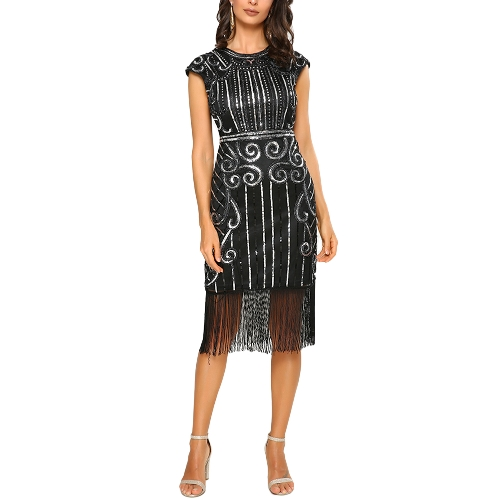 Women Party Dress Sequined Tassel Fringe 1920s Flapper Sleeveless Vintage Midi Dress Blue/Black/SilverApparel &amp; Jewelry<br>Women Party Dress Sequined Tassel Fringe 1920s Flapper Sleeveless Vintage Midi Dress Blue/Black/Silver<br>