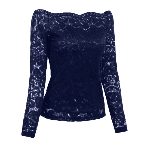 Sexy Women Hollow Out Lace Blouse Off Shoulder Slash Neck Long Sleeves Elegant Ladies Top ShirtApparel &amp; Jewelry<br>Sexy Women Hollow Out Lace Blouse Off Shoulder Slash Neck Long Sleeves Elegant Ladies Top Shirt<br>