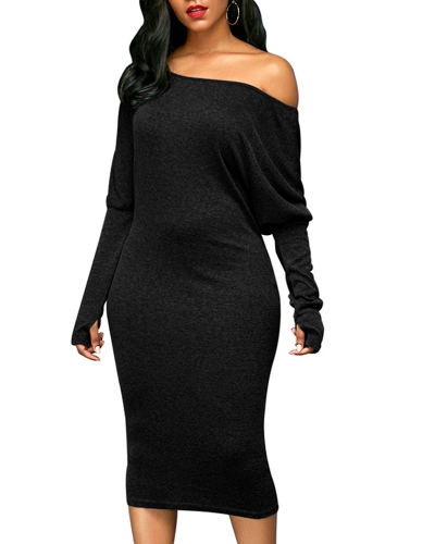 Sexy Women Dress Off Shoulder Cut Out Bat Sleeves Solid Elegant Party Club Midi DressesApparel &amp; Jewelry<br>Sexy Women Dress Off Shoulder Cut Out Bat Sleeves Solid Elegant Party Club Midi Dresses<br>