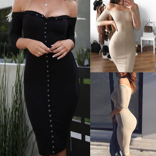 Sexy Women Bodycon Dress Off Shoulder Slash Neck 3/4 Sleeves Button Party Club Mini Slim DressesApparel &amp; Jewelry<br>Sexy Women Bodycon Dress Off Shoulder Slash Neck 3/4 Sleeves Button Party Club Mini Slim Dresses<br>