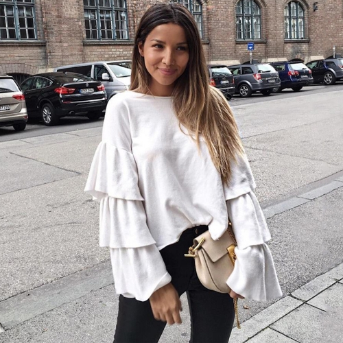 Women Pullover Solid Layered Ruffle Flare Sleeve Round Neck Casual Autumn Winter Jumpers Streetwear WhiteApparel &amp; Jewelry<br>Women Pullover Solid Layered Ruffle Flare Sleeve Round Neck Casual Autumn Winter Jumpers Streetwear White<br>