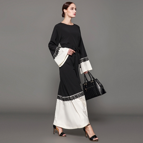 Women Muslim Maxi Dress Contrast Flare Sleeve Abaya Kaftan Islamic Arab Robe Belted Long Dress BlackApparel &amp; Jewelry<br>Women Muslim Maxi Dress Contrast Flare Sleeve Abaya Kaftan Islamic Arab Robe Belted Long Dress Black<br>