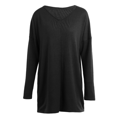 Women Autumn Winter Long Sleeves Shirt Casual Solid Top V-Neck Loose T-Shirt Pullover Top Black/PurpleApparel &amp; Jewelry<br>Women Autumn Winter Long Sleeves Shirt Casual Solid Top V-Neck Loose T-Shirt Pullover Top Black/Purple<br>