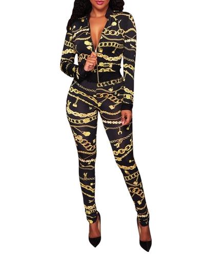 Sexy Women Two Pieces Set Chain Print V-Neck Long Sleeve Zipper Elastic Waist Crop Top Pants SetApparel &amp; Jewelry<br>Sexy Women Two Pieces Set Chain Print V-Neck Long Sleeve Zipper Elastic Waist Crop Top Pants Set<br>