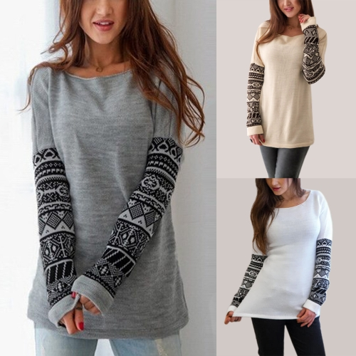 Women Long Sleeve T-Shirt O-Neck Geometric Print Sleeve Shirts Pullover Casual Tee Tops