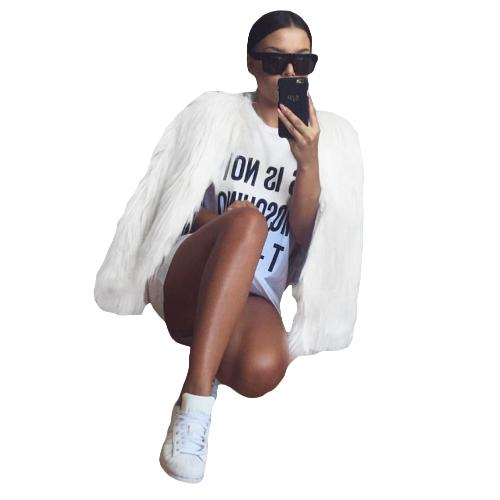 Winter Women Faux Fur Coat Solid Color Long Sleeve Fluffy Outerwear Short Jacket Hairy Warm OvercoatApparel &amp; Jewelry<br>Winter Women Faux Fur Coat Solid Color Long Sleeve Fluffy Outerwear Short Jacket Hairy Warm Overcoat<br>