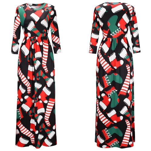 Fashion Women Christmas Santa Claus Printed Long Sleeve Dress O Neck A-Line Swing Xmas Floor-length DressApparel &amp; Jewelry<br>Fashion Women Christmas Santa Claus Printed Long Sleeve Dress O Neck A-Line Swing Xmas Floor-length Dress<br>