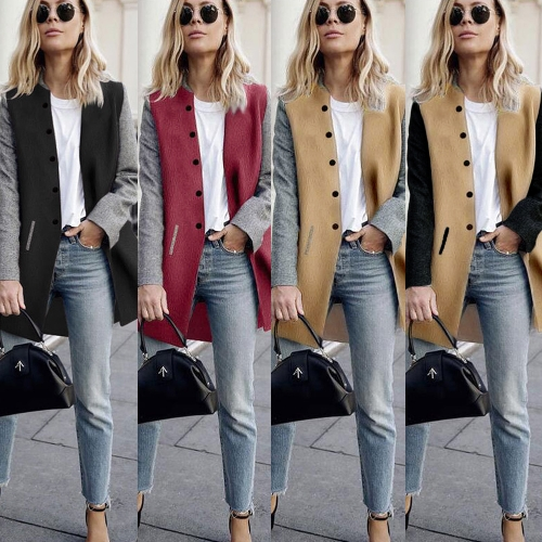 Women Winter Coat Color Splice Long Sleeves Side Pockets Buttons Warm Casual OuterwearApparel &amp; Jewelry<br>Women Winter Coat Color Splice Long Sleeves Side Pockets Buttons Warm Casual Outerwear<br>