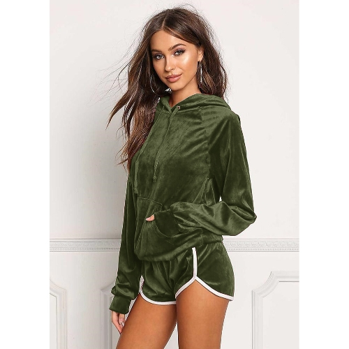 Women Velvet Tracksuit Set Long Sleeve Hoodie Sweat Suits Drawstring Sweatshirt Shorts Two PieceApparel &amp; Jewelry<br>Women Velvet Tracksuit Set Long Sleeve Hoodie Sweat Suits Drawstring Sweatshirt Shorts Two Piece<br>