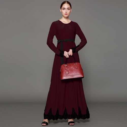 Women Muslim Maxi Dress Contrast Lace Long Sleeve Abaya Kaftan Islamic Arab Robe Belted Long Dress Burgundy/BrownApparel &amp; Jewelry<br>Women Muslim Maxi Dress Contrast Lace Long Sleeve Abaya Kaftan Islamic Arab Robe Belted Long Dress Burgundy/Brown<br>