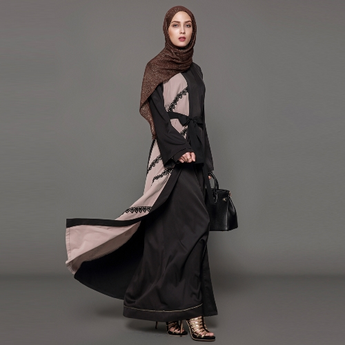 Fashion Women Crochet Lace Long Sleeve Robes Cardigan Abaya Muslim Arab Long Coat with Belt BlackApparel &amp; Jewelry<br>Fashion Women Crochet Lace Long Sleeve Robes Cardigan Abaya Muslim Arab Long Coat with Belt Black<br>