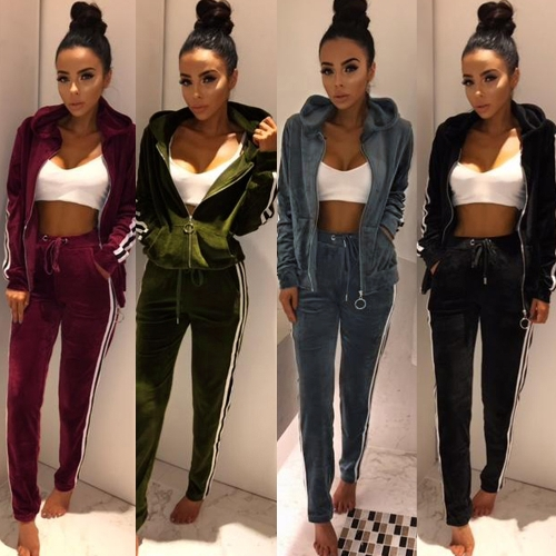 Women Two-Piece Set Hooded Hoodie Pants Stripes Long Sleeves Zipper Elastic Waist Casual Sportswear Top Trousers
