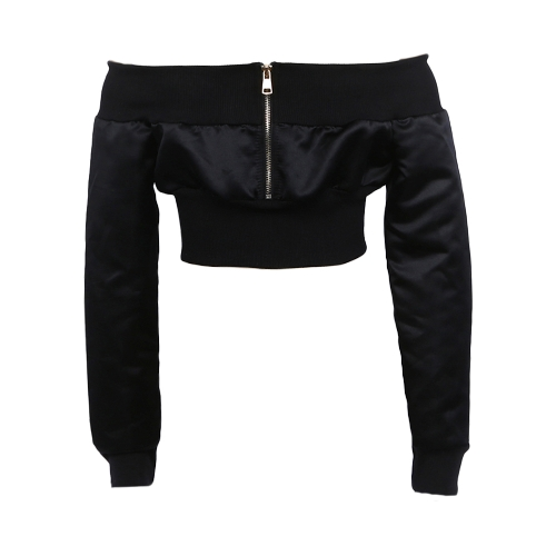 Sexy Women Off Shoulder Cropped Jacket Coat Long Sleeve Zipper Casual Midriff Baring Crop Top Black/KhakiApparel &amp; Jewelry<br>Sexy Women Off Shoulder Cropped Jacket Coat Long Sleeve Zipper Casual Midriff Baring Crop Top Black/Khaki<br>