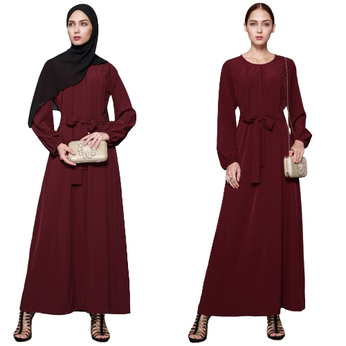 Women Muslim Dress Solid Color Long Sleeve Abaya Kaftan Islamic Arab Robe Maxi Long Belted Dress BurgundyApparel &amp; Jewelry<br>Women Muslim Dress Solid Color Long Sleeve Abaya Kaftan Islamic Arab Robe Maxi Long Belted Dress Burgundy<br>