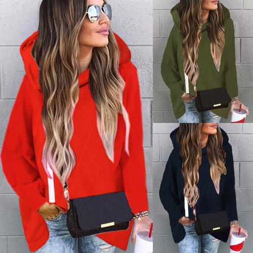 Autumn Winter Women Hooded Sweater Long Sleeves High-Low Hem Zipper Casual Loose Hoodies TopApparel &amp; Jewelry<br>Autumn Winter Women Hooded Sweater Long Sleeves High-Low Hem Zipper Casual Loose Hoodies Top<br>