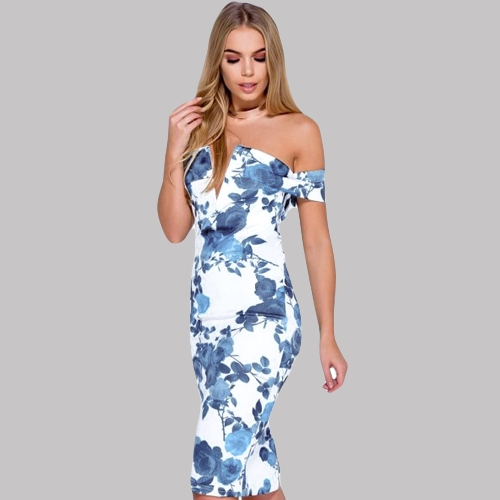 New Sexy Women Floral Print Bandage Midi Dress Off the Shoulder Deep V Neck Split Back Night Club Party Bodycon DressApparel &amp; Jewelry<br>New Sexy Women Floral Print Bandage Midi Dress Off the Shoulder Deep V Neck Split Back Night Club Party Bodycon Dress<br>