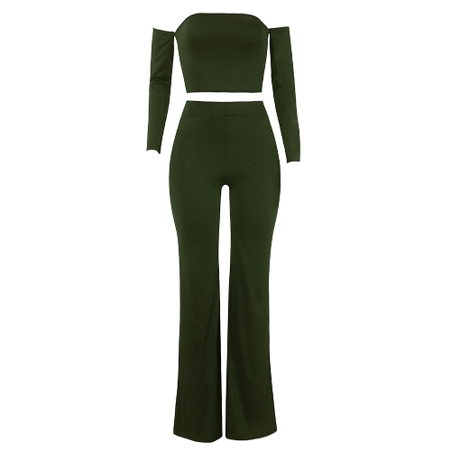 Fashion Women Off Shoulder Two Piece Set Sexy Lace Up Back Long Sleeve Wide Legs Party Club Suit Crop Top + PantsApparel &amp; Jewelry<br>Fashion Women Off Shoulder Two Piece Set Sexy Lace Up Back Long Sleeve Wide Legs Party Club Suit Crop Top + Pants<br>