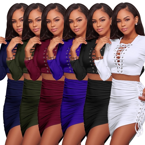 Sexy Women Two-piece Set Deep V Neck Crop Top Long Sleeve Bandage Asymmetric Bodycon Skirt Suits Party ClubwearApparel &amp; Jewelry<br>Sexy Women Two-piece Set Deep V Neck Crop Top Long Sleeve Bandage Asymmetric Bodycon Skirt Suits Party Clubwear<br>