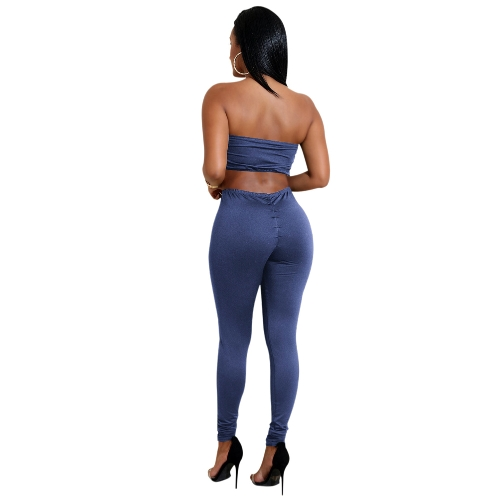 Sexy Women Two-piece Set Strapless Crop Top Bandage Bodycon Long Pants Solid Slim Party Club SuitsApparel &amp; Jewelry<br>Sexy Women Two-piece Set Strapless Crop Top Bandage Bodycon Long Pants Solid Slim Party Club Suits<br>