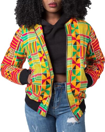 Fashion Women Bomber Jacket Vintage Print Long Sleeve Zipper Outerwear Casual Short Jacket CoatApparel &amp; Jewelry<br>Fashion Women Bomber Jacket Vintage Print Long Sleeve Zipper Outerwear Casual Short Jacket Coat<br>