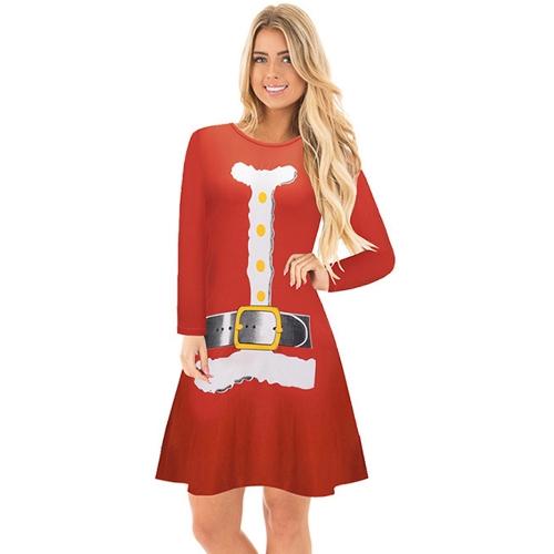 Autumn Winter Women Christmas Dress Cartoon Santa Reindeer Snowflake Long Sleeves Casual Xmas DressesApparel &amp; Jewelry<br>Autumn Winter Women Christmas Dress Cartoon Santa Reindeer Snowflake Long Sleeves Casual Xmas Dresses<br>