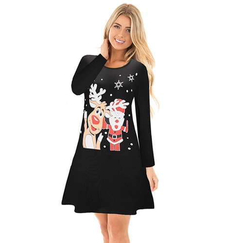 Autumn Winter Women Christmas Dress Cartoon Santa Reindeer Snowflake Long Sleeves Casual Xmas DressesApparel &amp; Jewelry<br>Autumn Winter Women Christmas Dress Cartoon Santa Reindeer Snowflake Long Sleeves Casual Xmas Dresses<br>