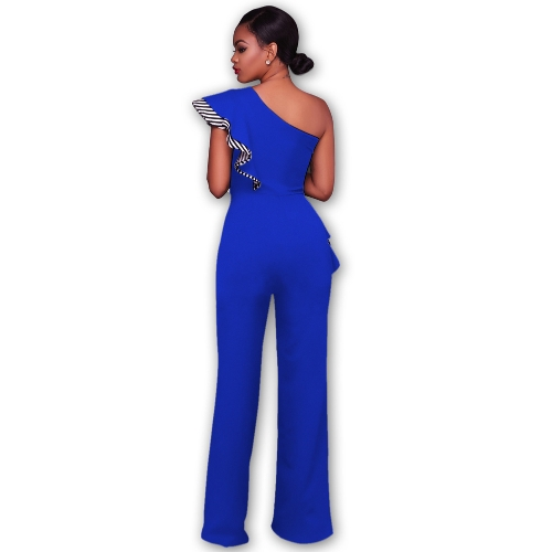 Sexy Women Jumpsuit One-Shoulder Ruffles Sleeveless Wide Legs Elegant Casual RomperApparel &amp; Jewelry<br>Sexy Women Jumpsuit One-Shoulder Ruffles Sleeveless Wide Legs Elegant Casual Romper<br>